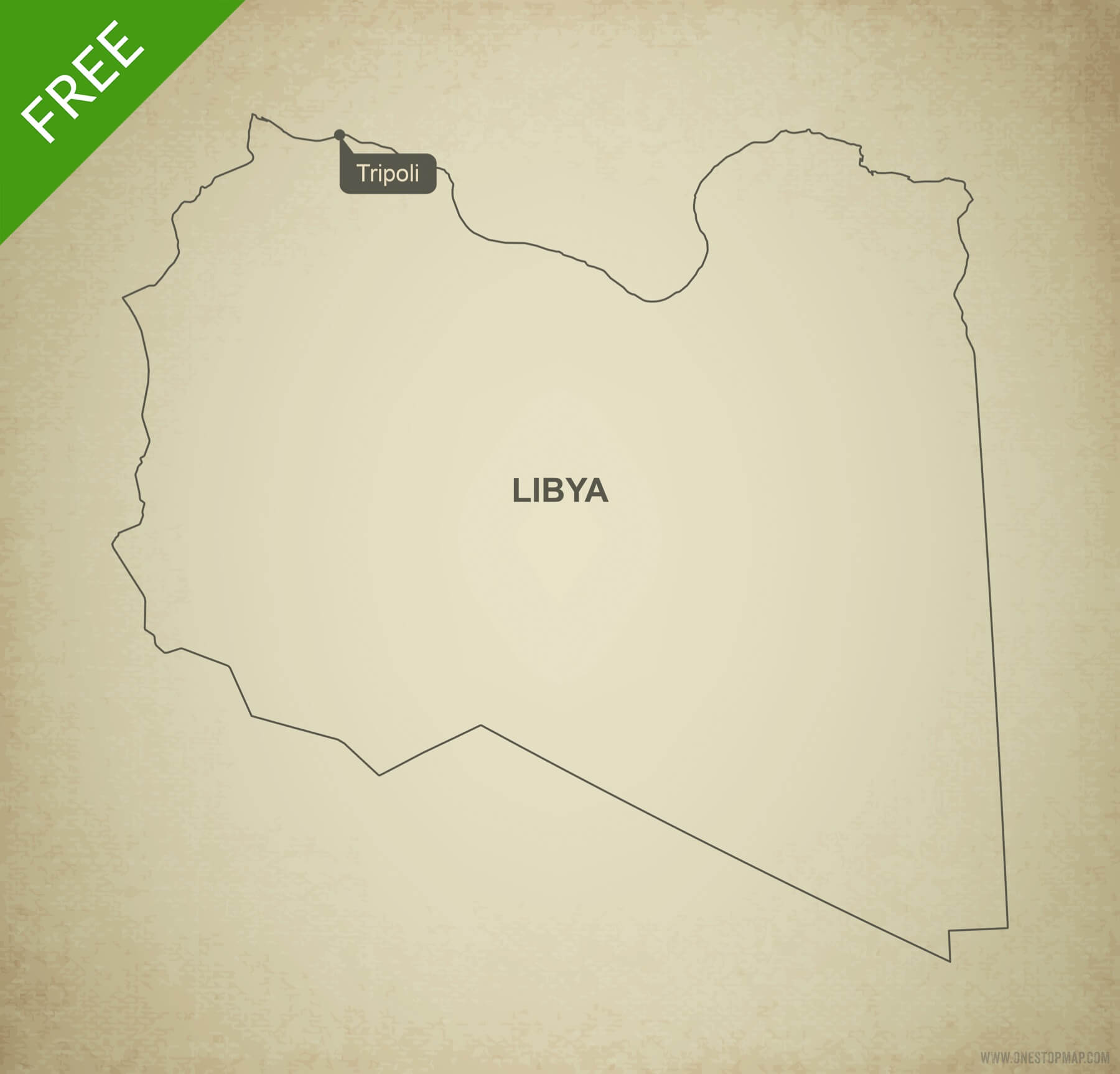 Free Vector Map Of Libya Outline One Stop Map - Libya blank map