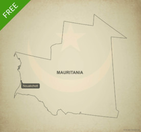 Free vector map of Mauritania outline
