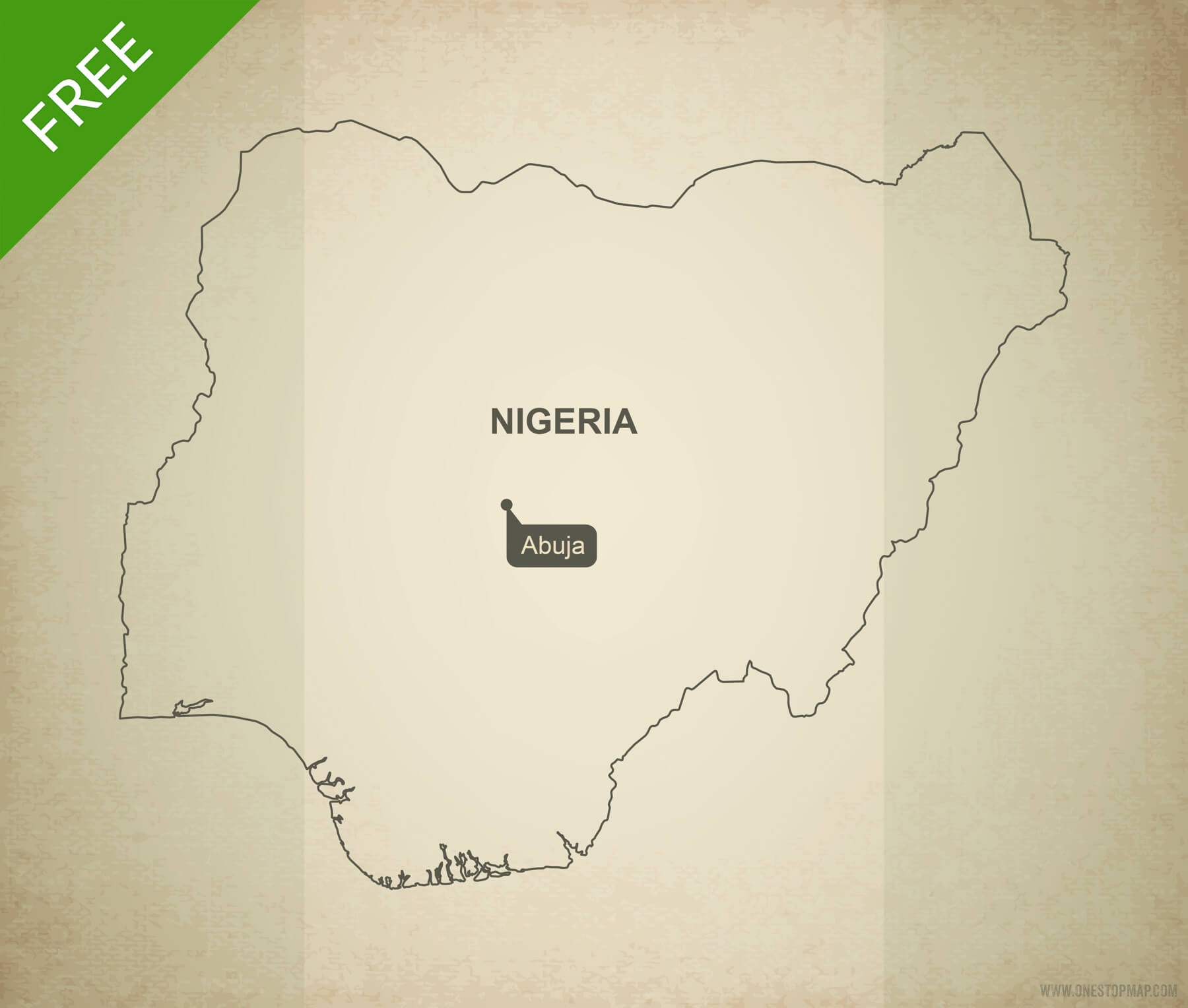 Free Vector Map Of Nigeria Outline One Stop Map - Nigeria map