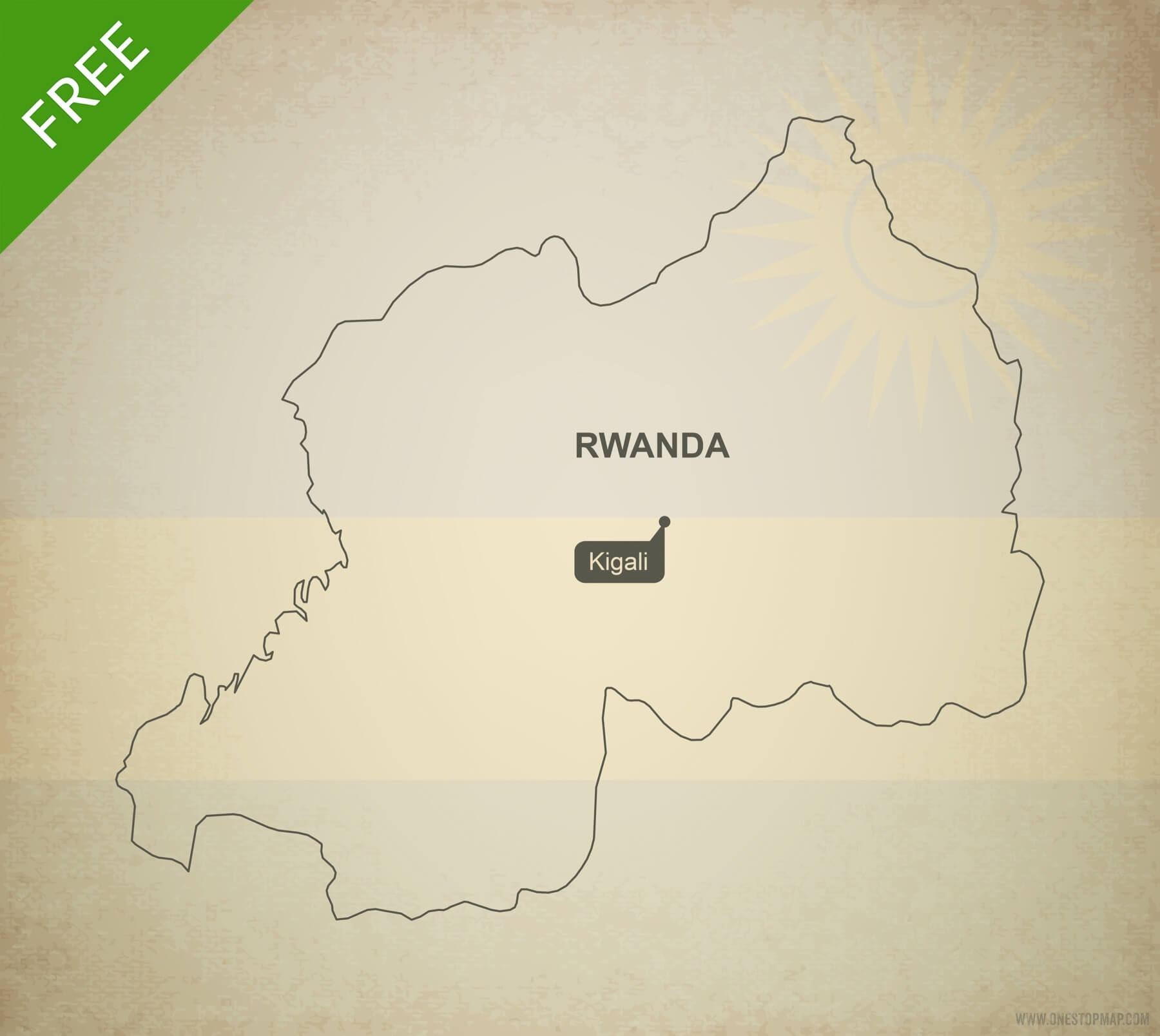 Free vector map of Rwanda outline