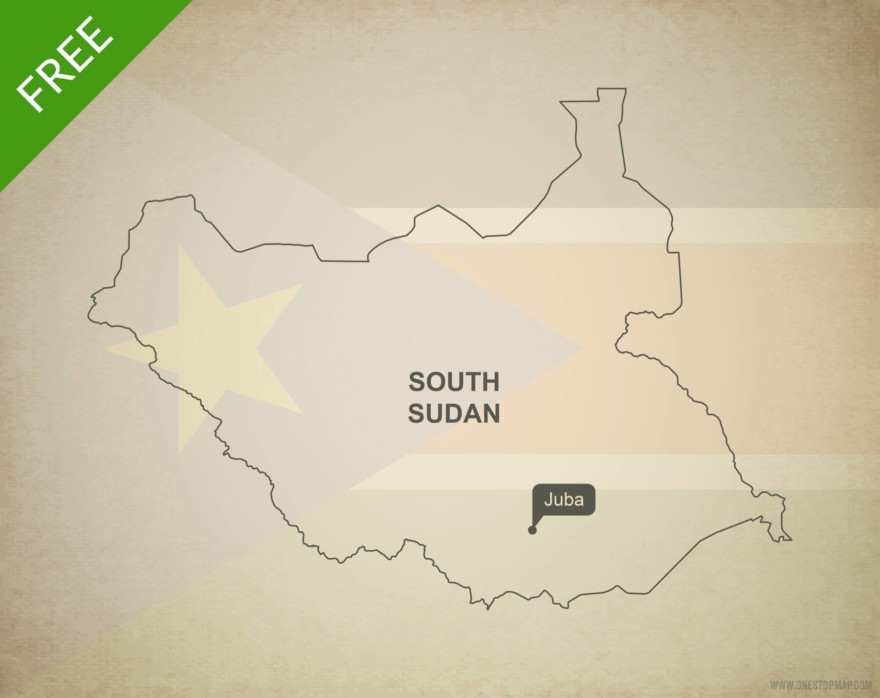 Free vector map of South Sudan outline