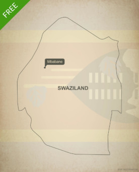 Free vector map of Swaziland outline