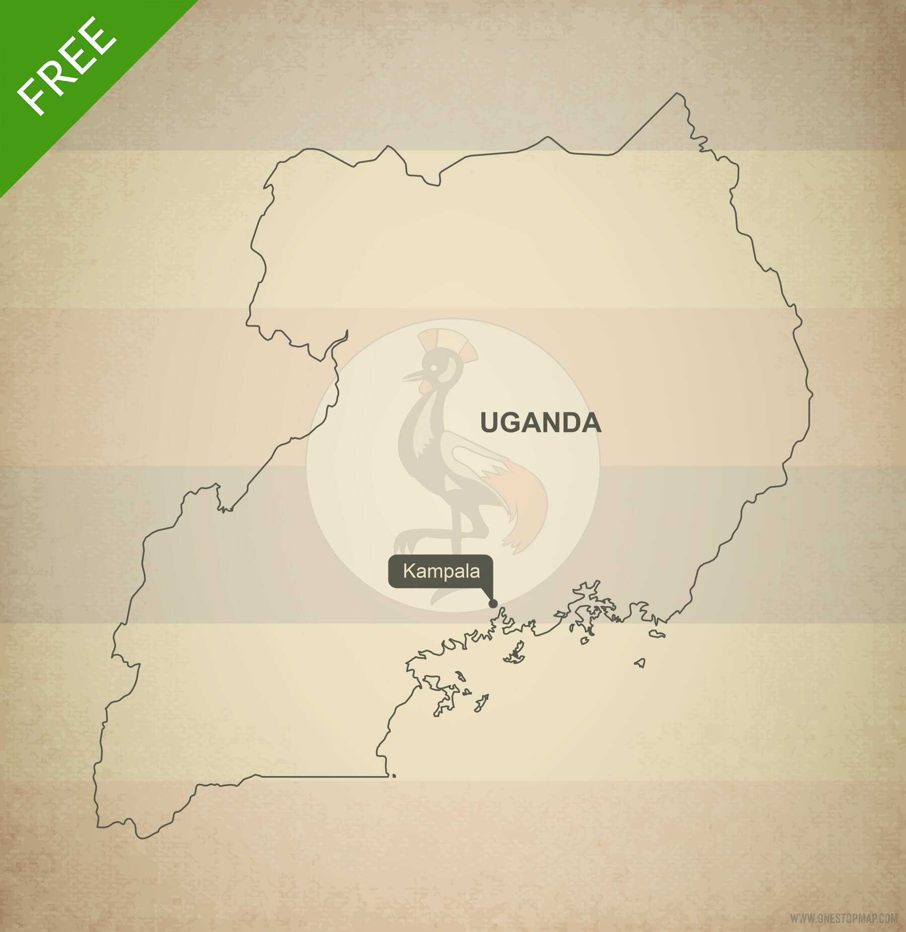 Free Vector Map of Uganda Outline | One Stop Map