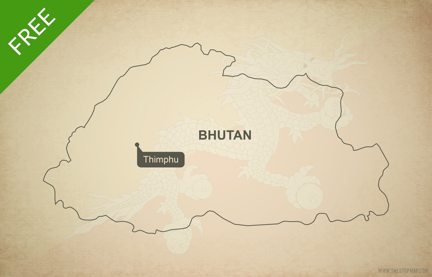 Free Vector Map Of Bhutan Outline One Stop Map - Map of bhutan