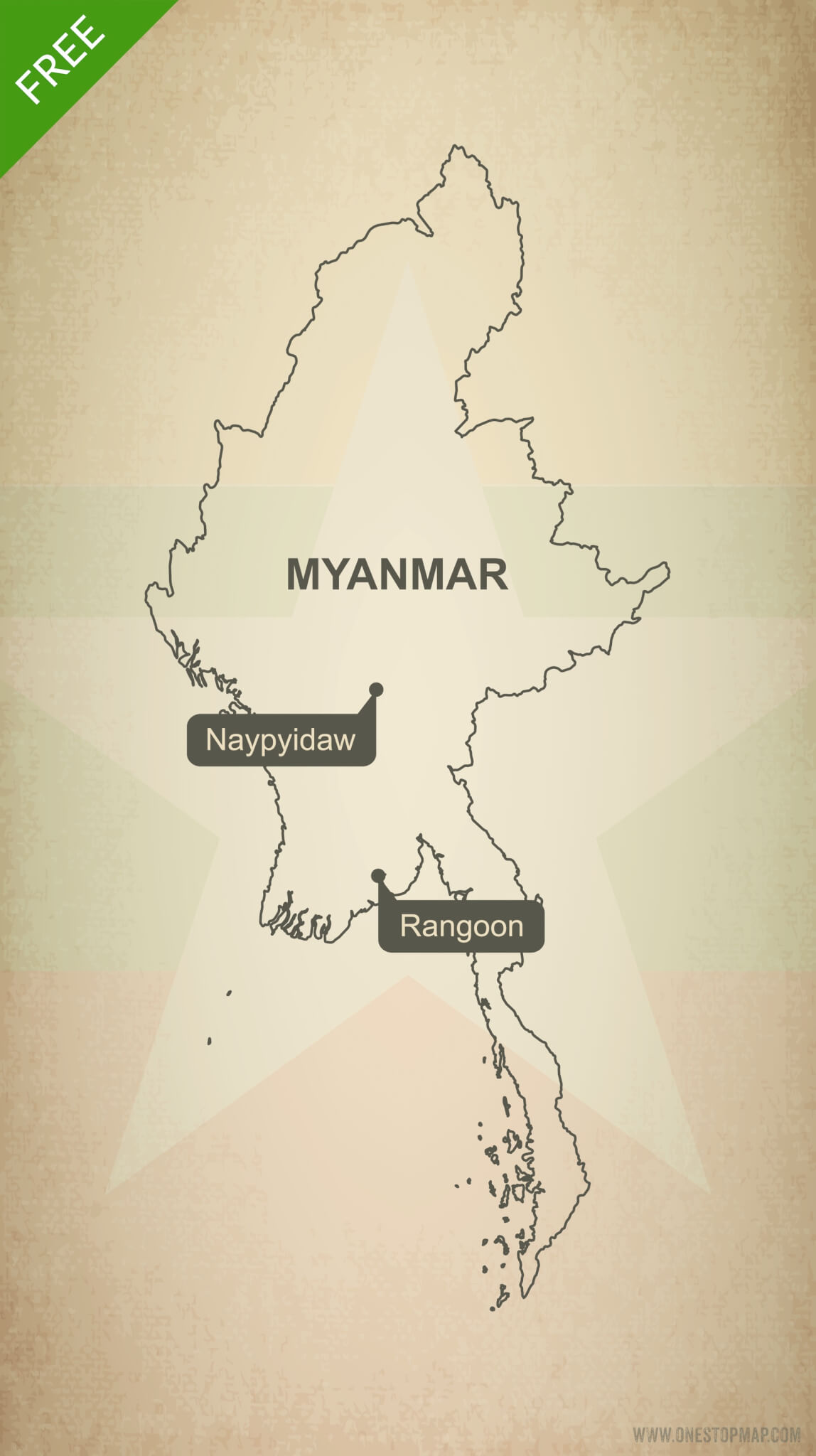 Free vector map of Myanmar outline