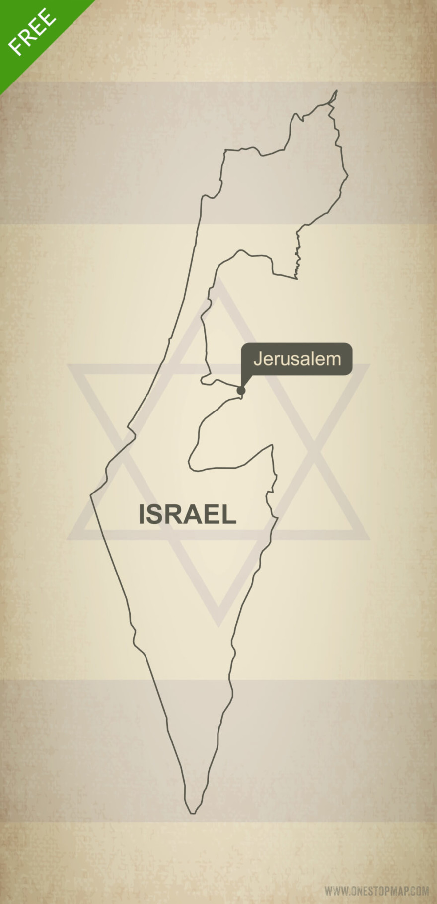 Free vector map of Israel outline