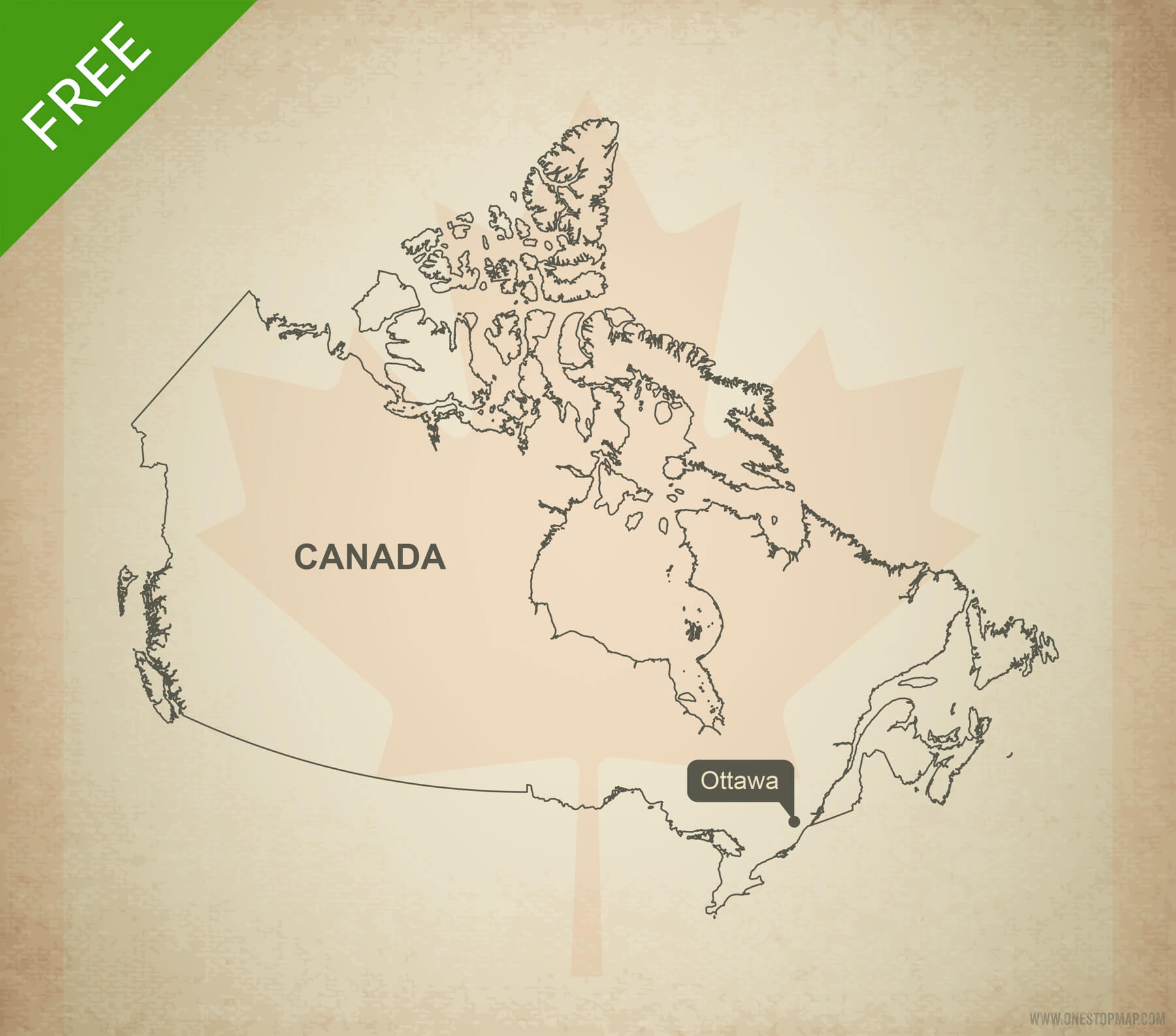 Quebec On Map Of Canada.Free Vector Map Of Canada Outline One Stop Map