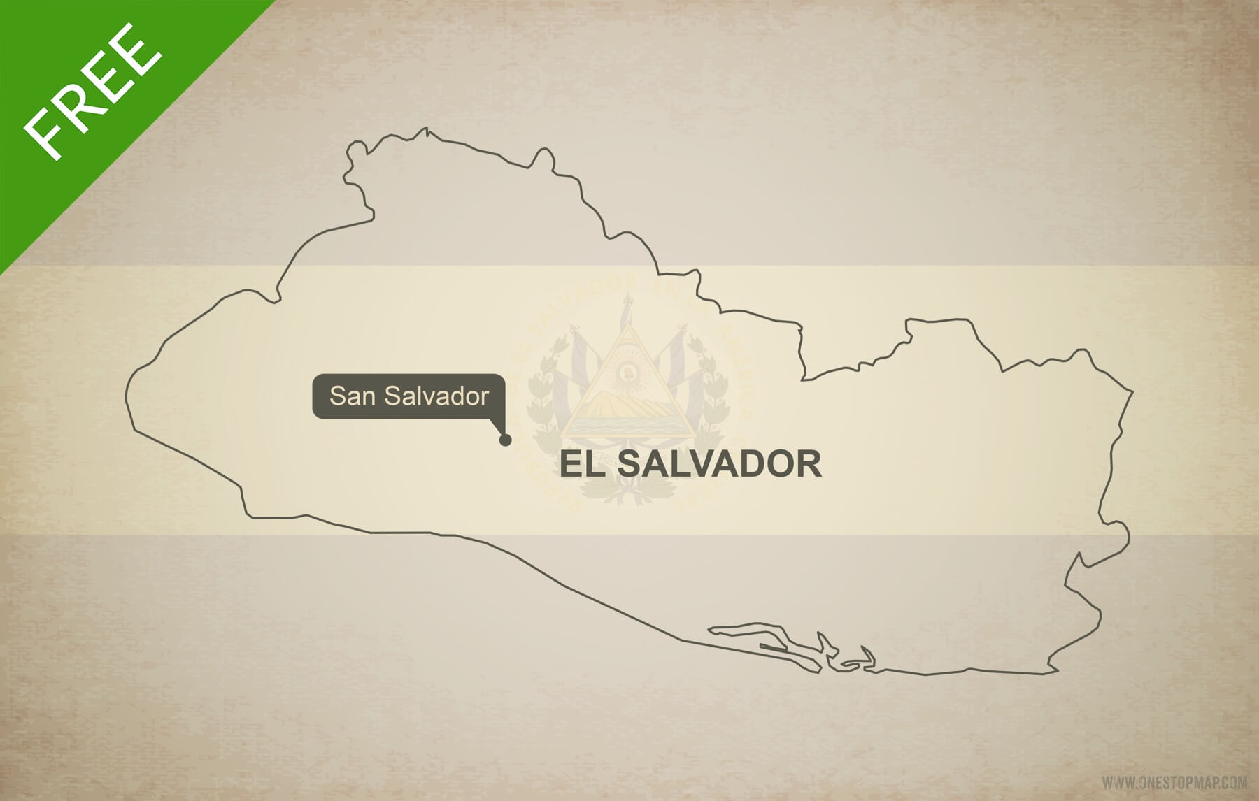 Free vector map of El Salvador outline