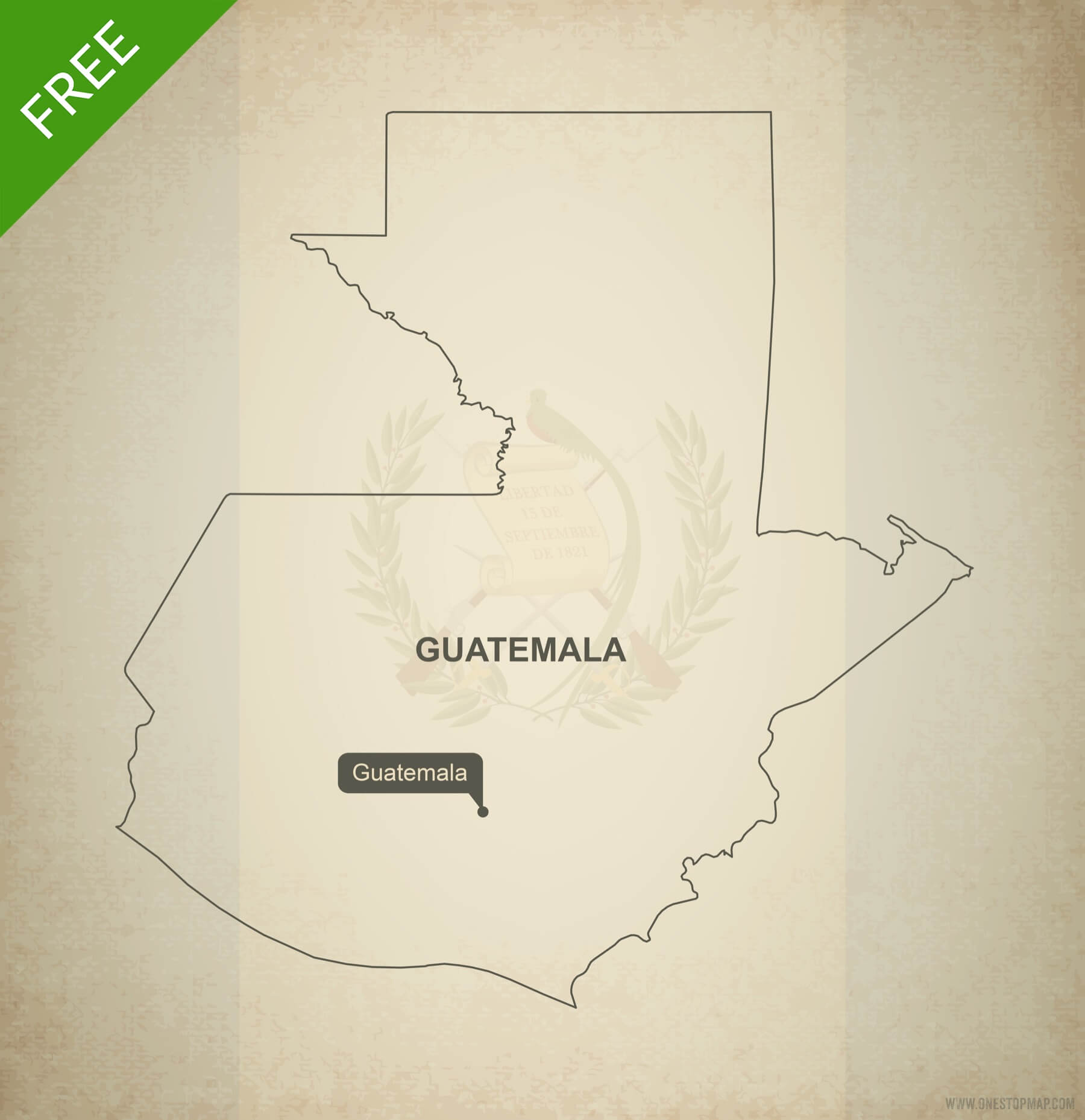 Free vector map of Guatemala outline