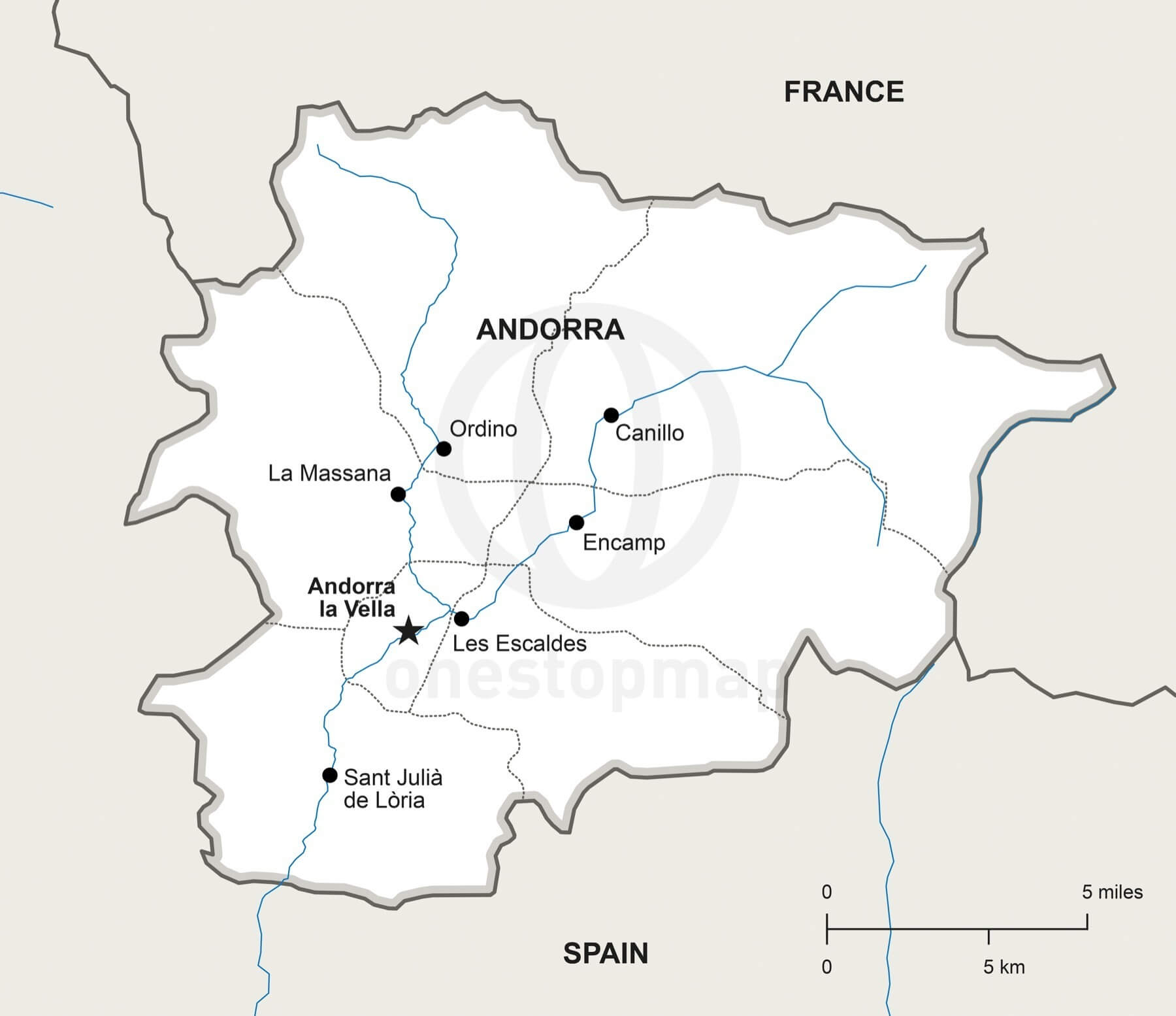 Vector Map of Andorra Political One Stop Map