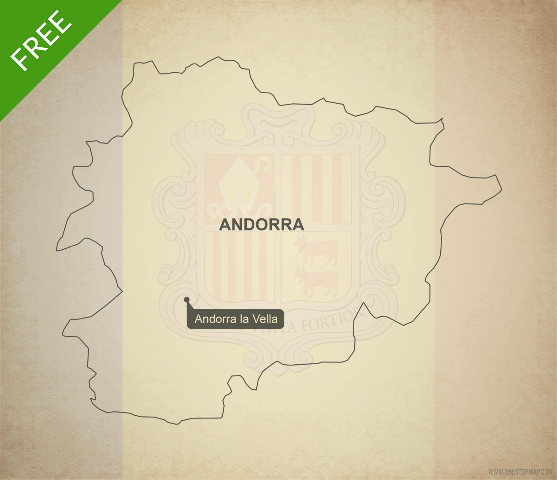 Free Vector Map of Andorra Outline One Stop Map