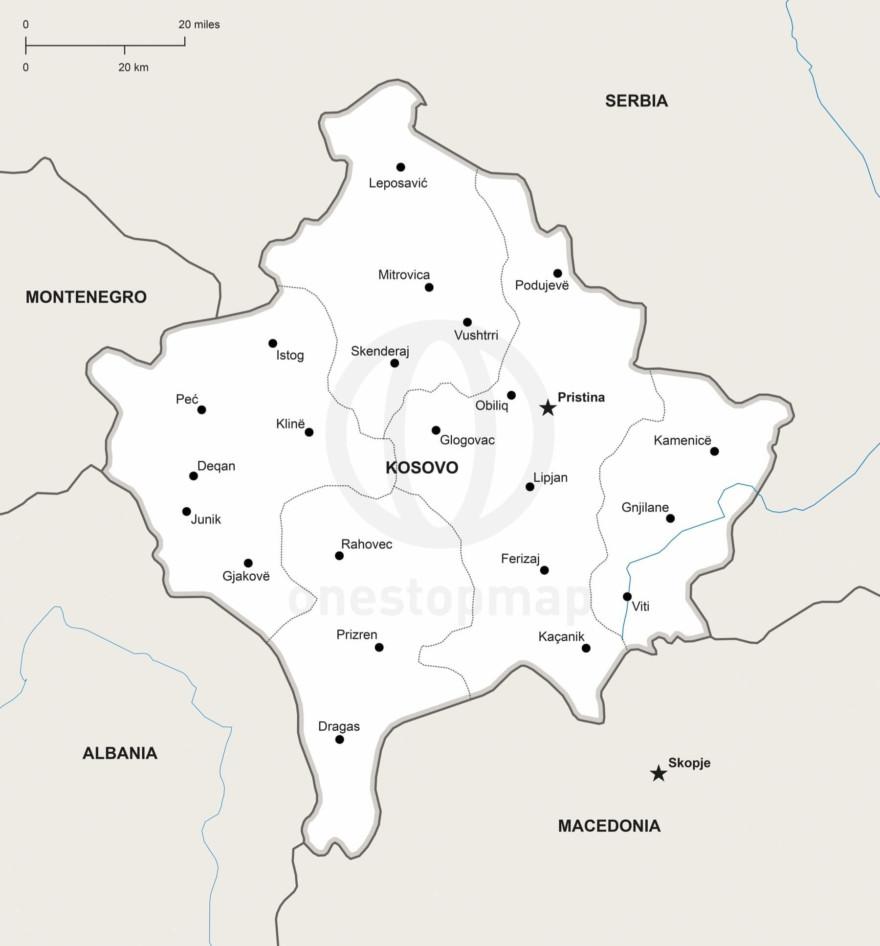 Vector map of Kosovo political