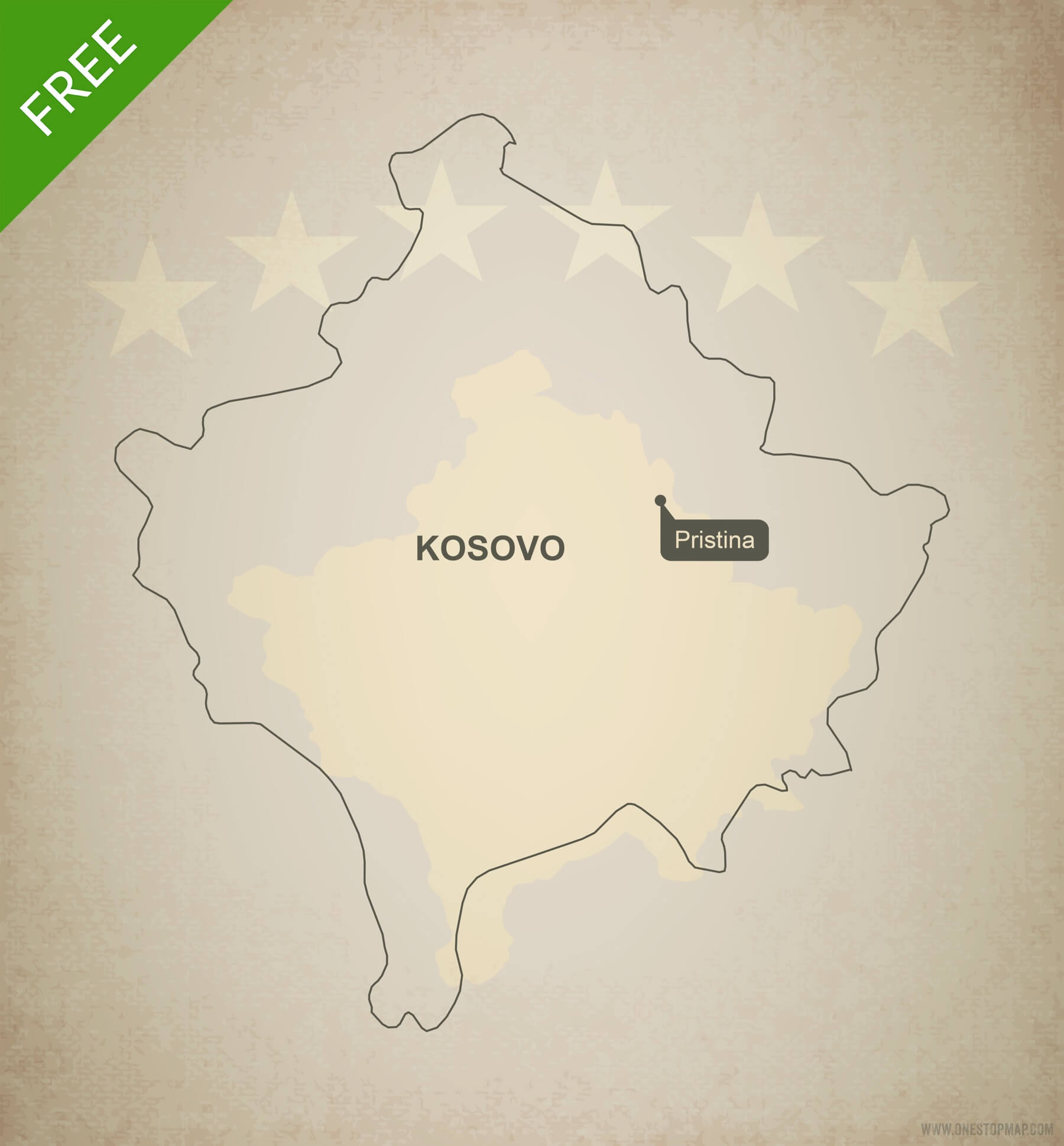 Kosovo Map In World. Free vector map of Kosovo outline Vector Map Outline  One Stop