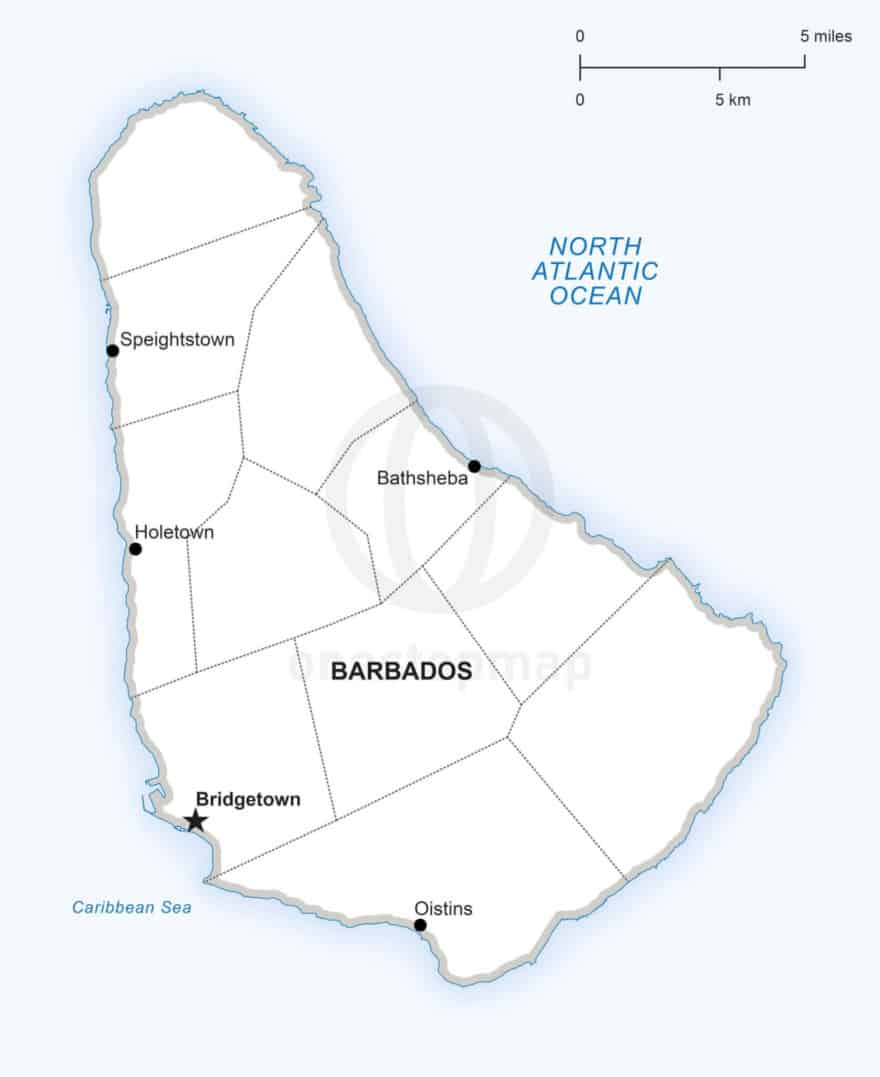 Vector map of Barbados political