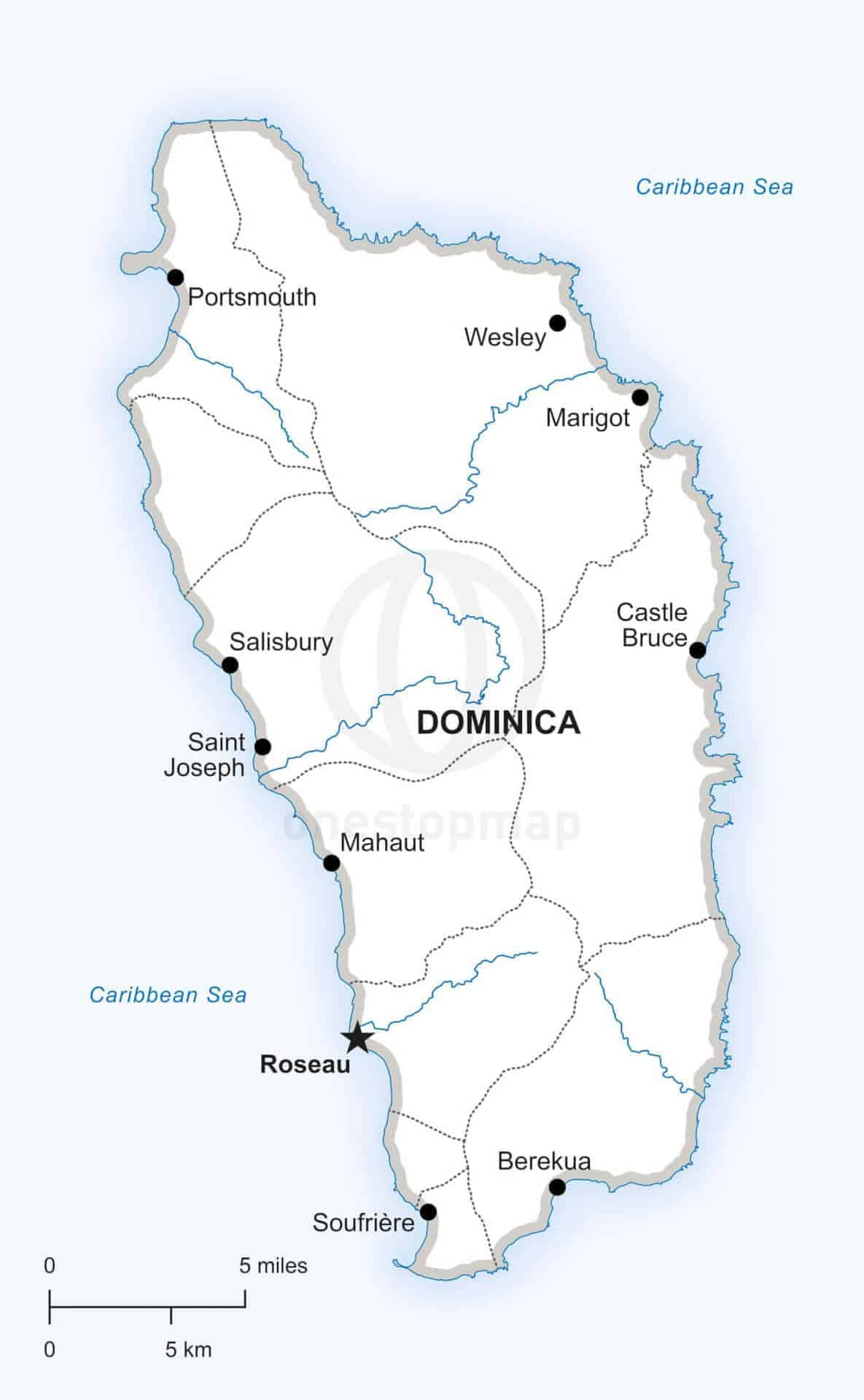 Vector Map of Dominica Political | One Stop Map on