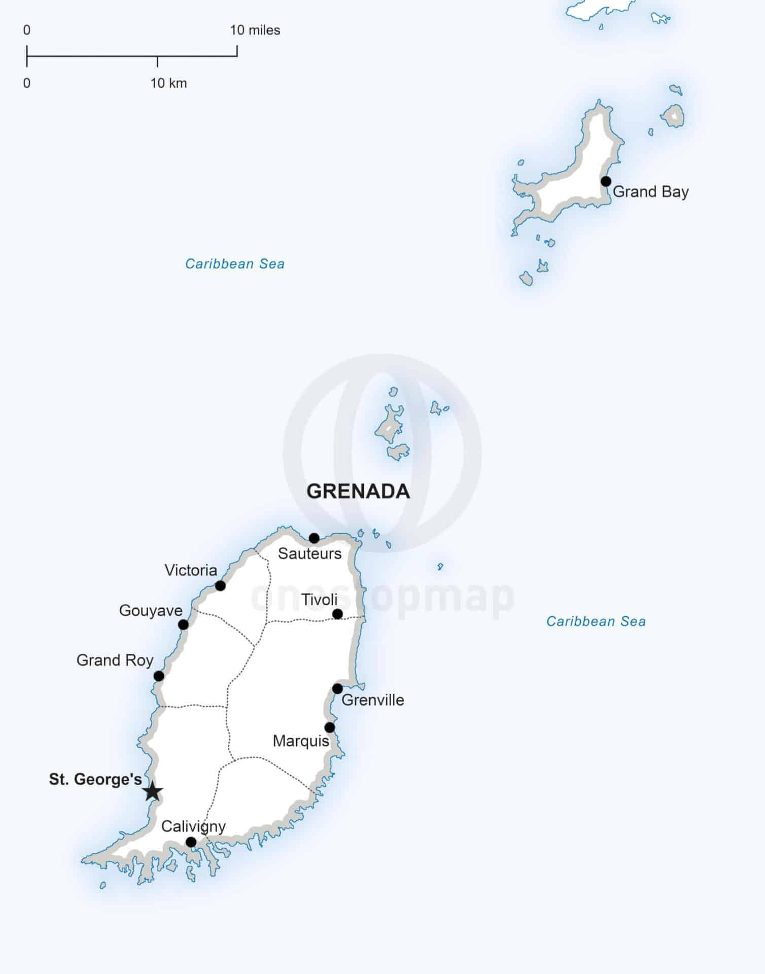 Popular 235 List map of grenada