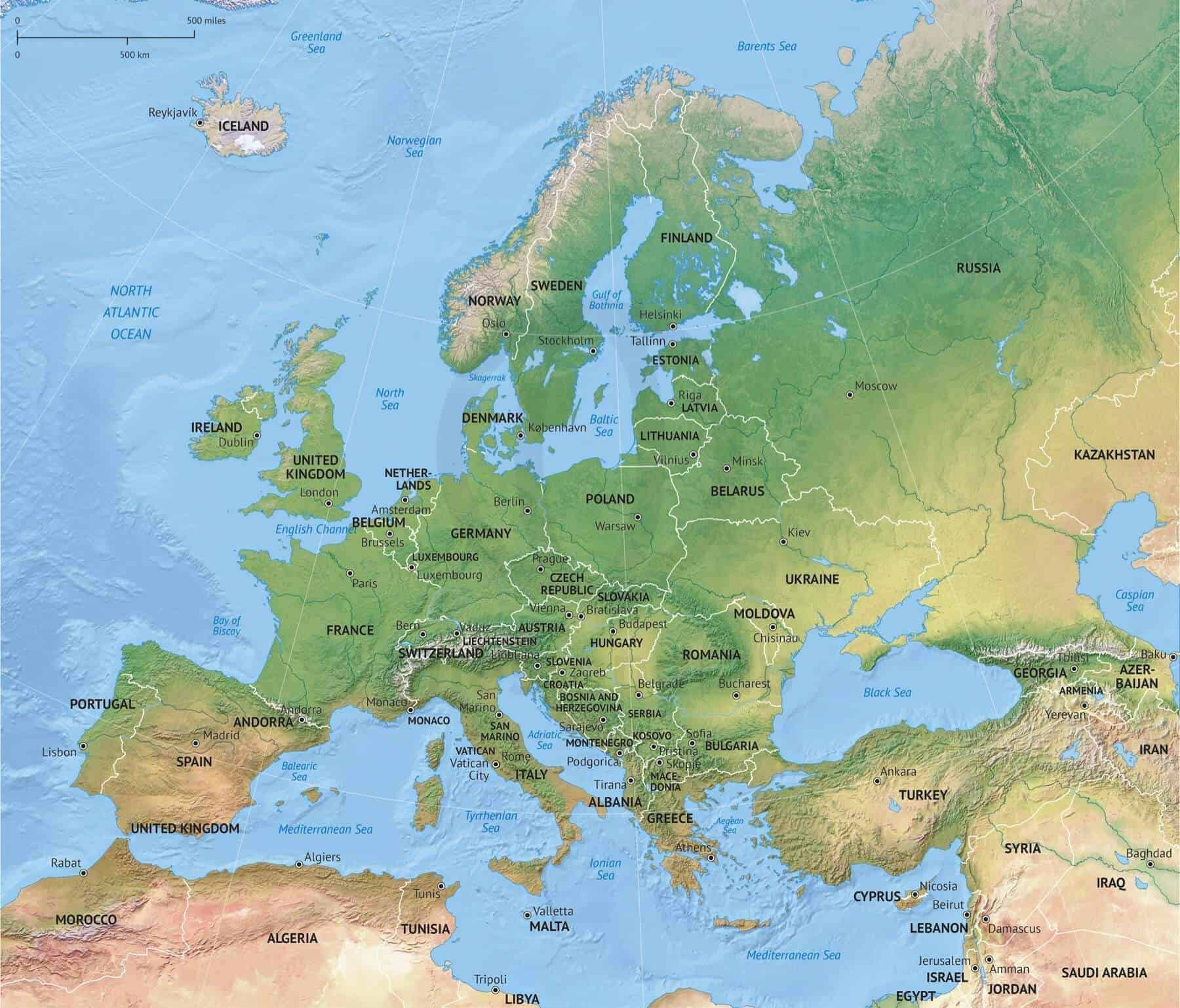 Map of Europe continent political with shaded relief