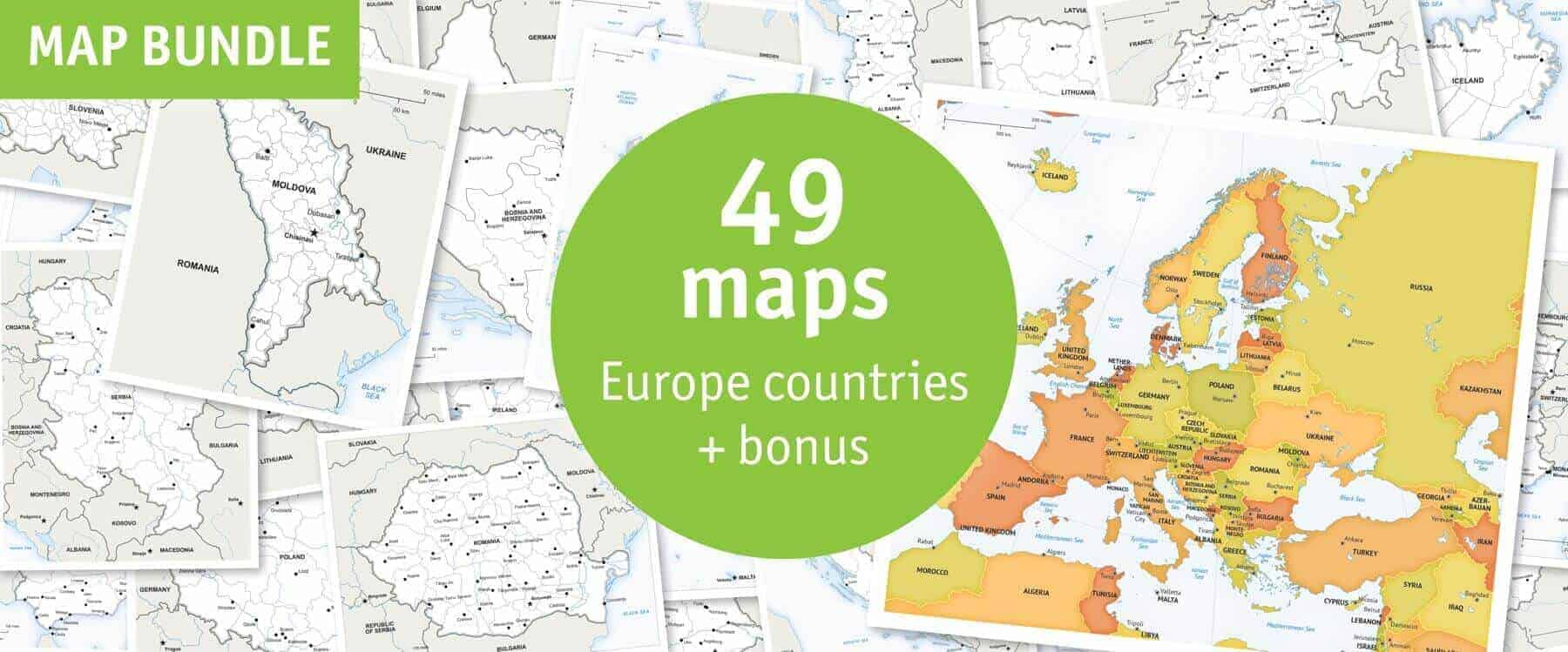 Europe Countries 49 MAPS Bundle Discount