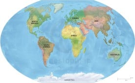 Vector map of world continents with shaded relief