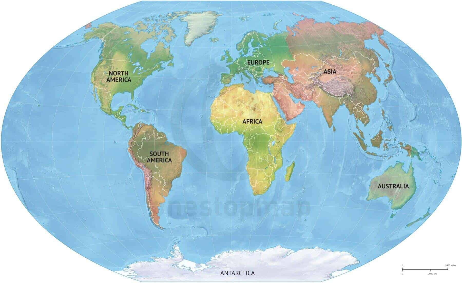 Shaded Relief Map Of The World