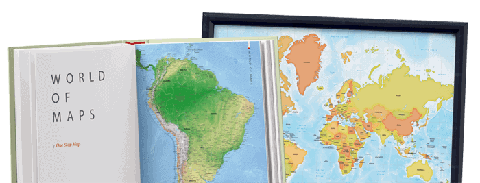 A book with a map of South America and a frame with a world map
