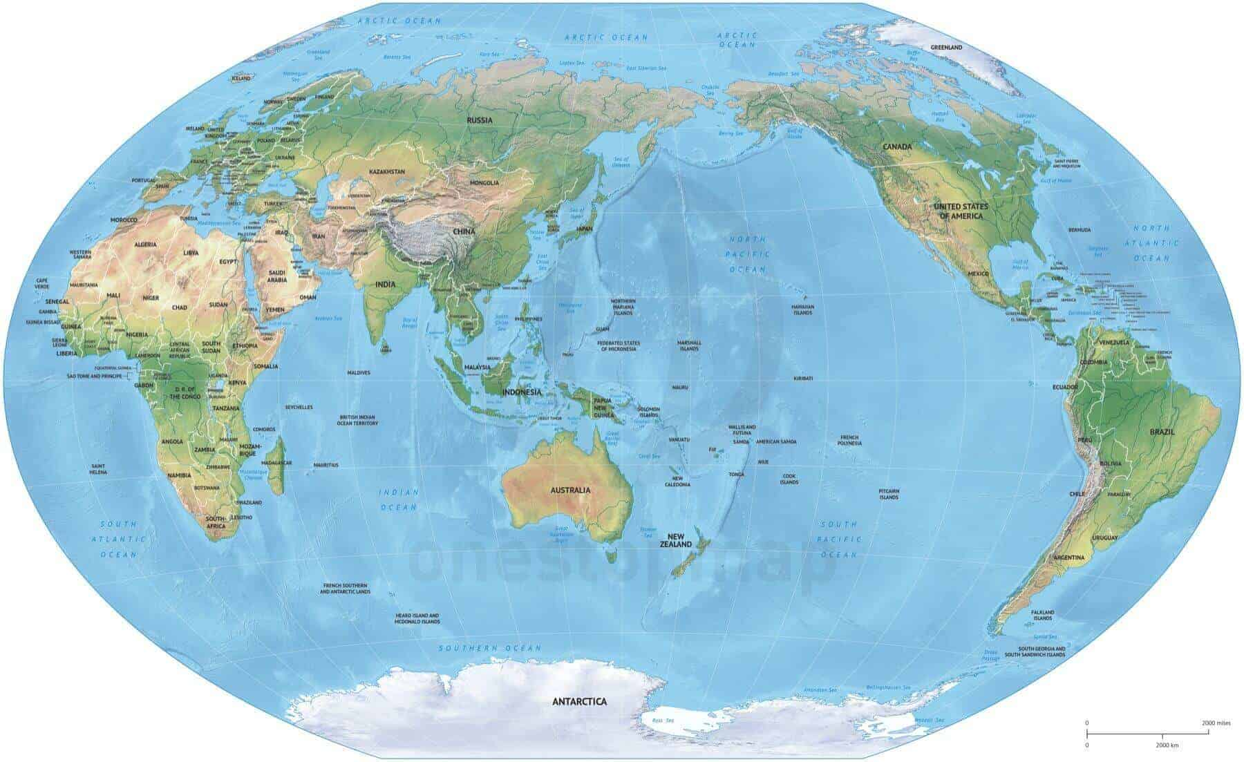 Australia Map Km.Map Of World Political Shaded Relief Winkel Tripel Asia Australia Centered