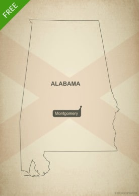 Free blank outline map of the U.S. state of Alabama
