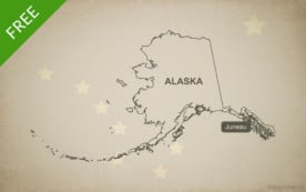 Free blank outline map of the U.S. state of Alaska