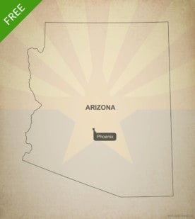 Free blank outline map of the U.S. state of Arizona