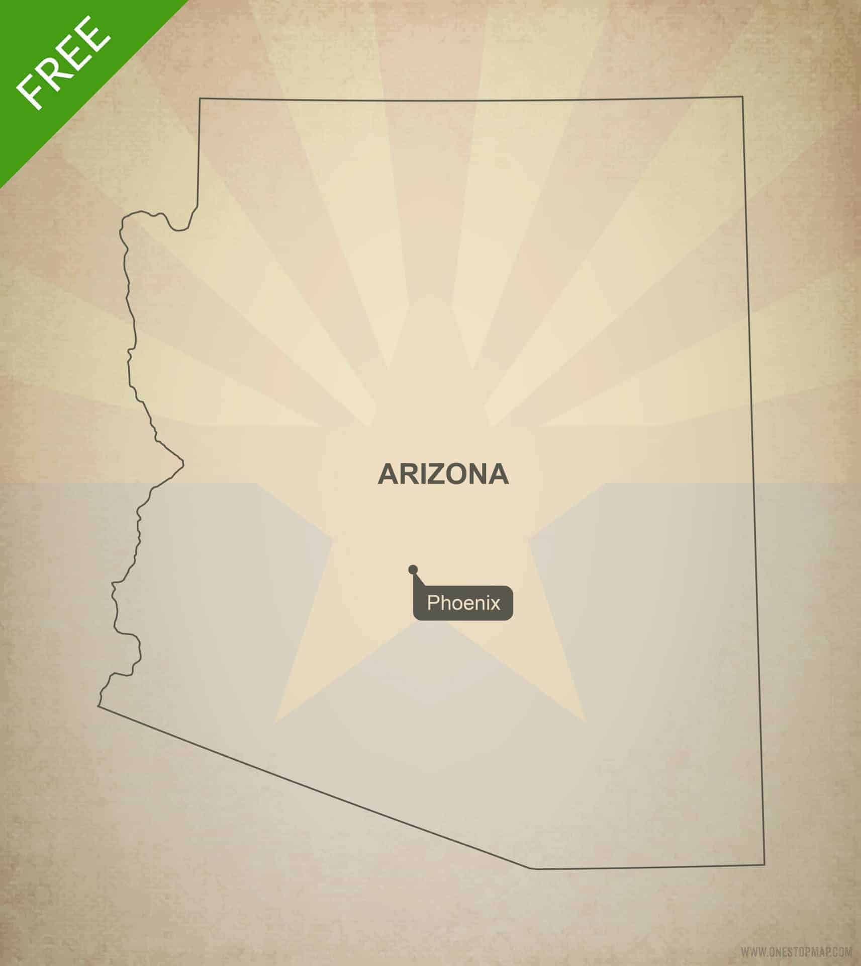 Free vector map of Arizona outline | One Stop Map
