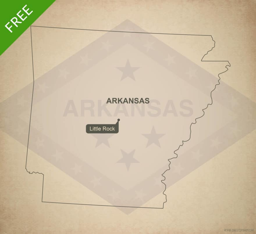 Free blank outline map of the U.S. state of Arkansas