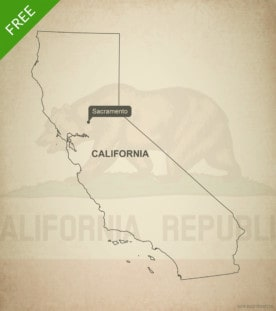 Free blank outline map of the U.S. state of California