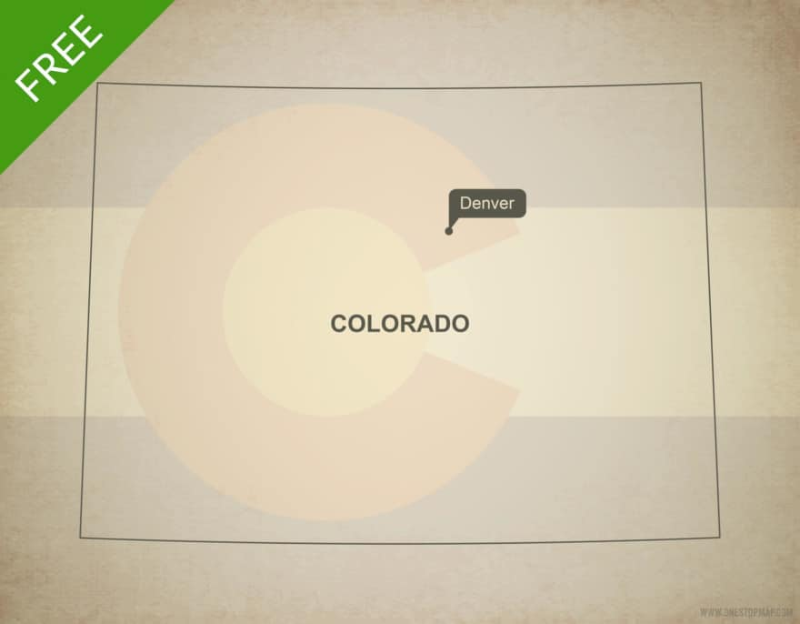 Free blank outline map of the U.S. state of Colorado