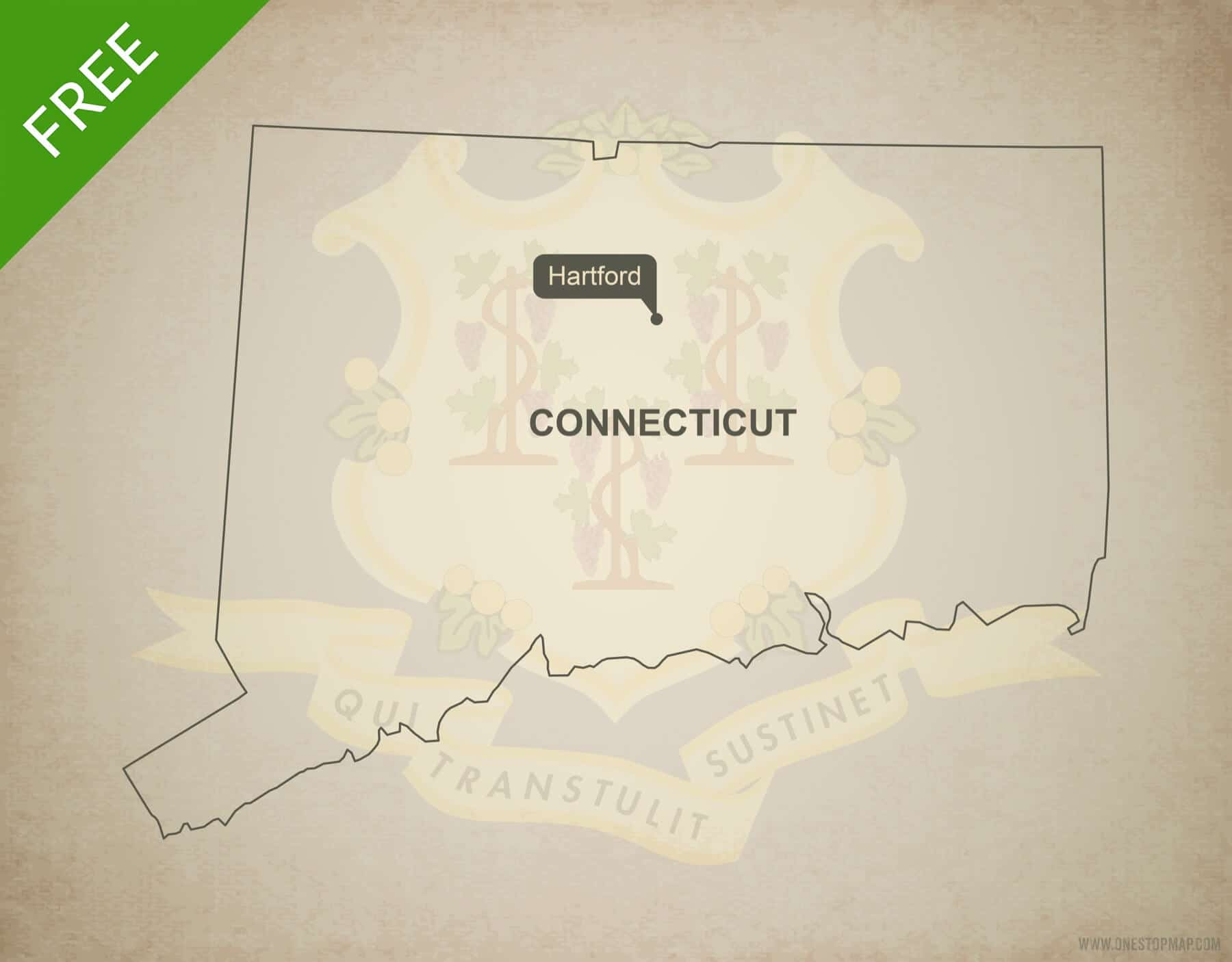 Free Vector Map Of Connecticut Outline One Stop Map - Us map connecticut