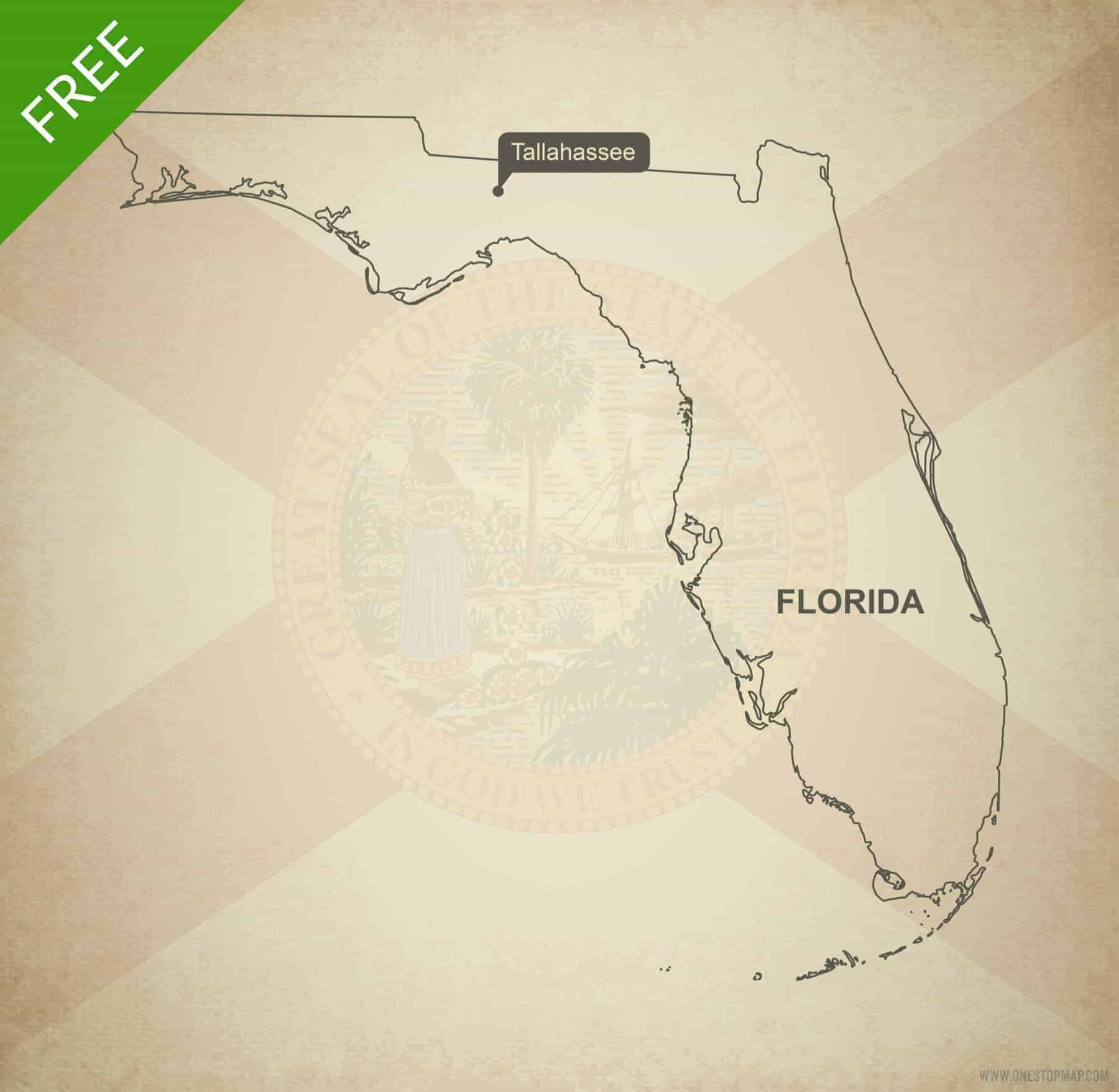 Free Vector Map Of Florida Outline One Stop Map - Florida-map-us