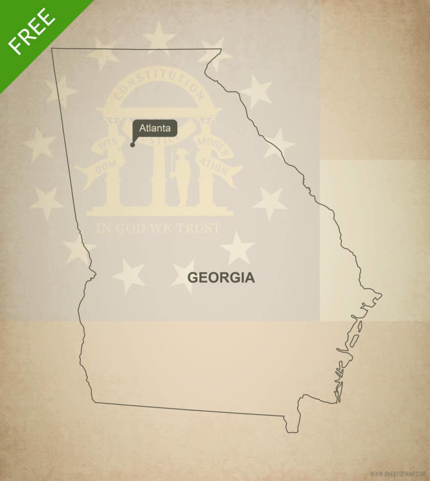 Free blank outline map of the U.S. state of Georgia
