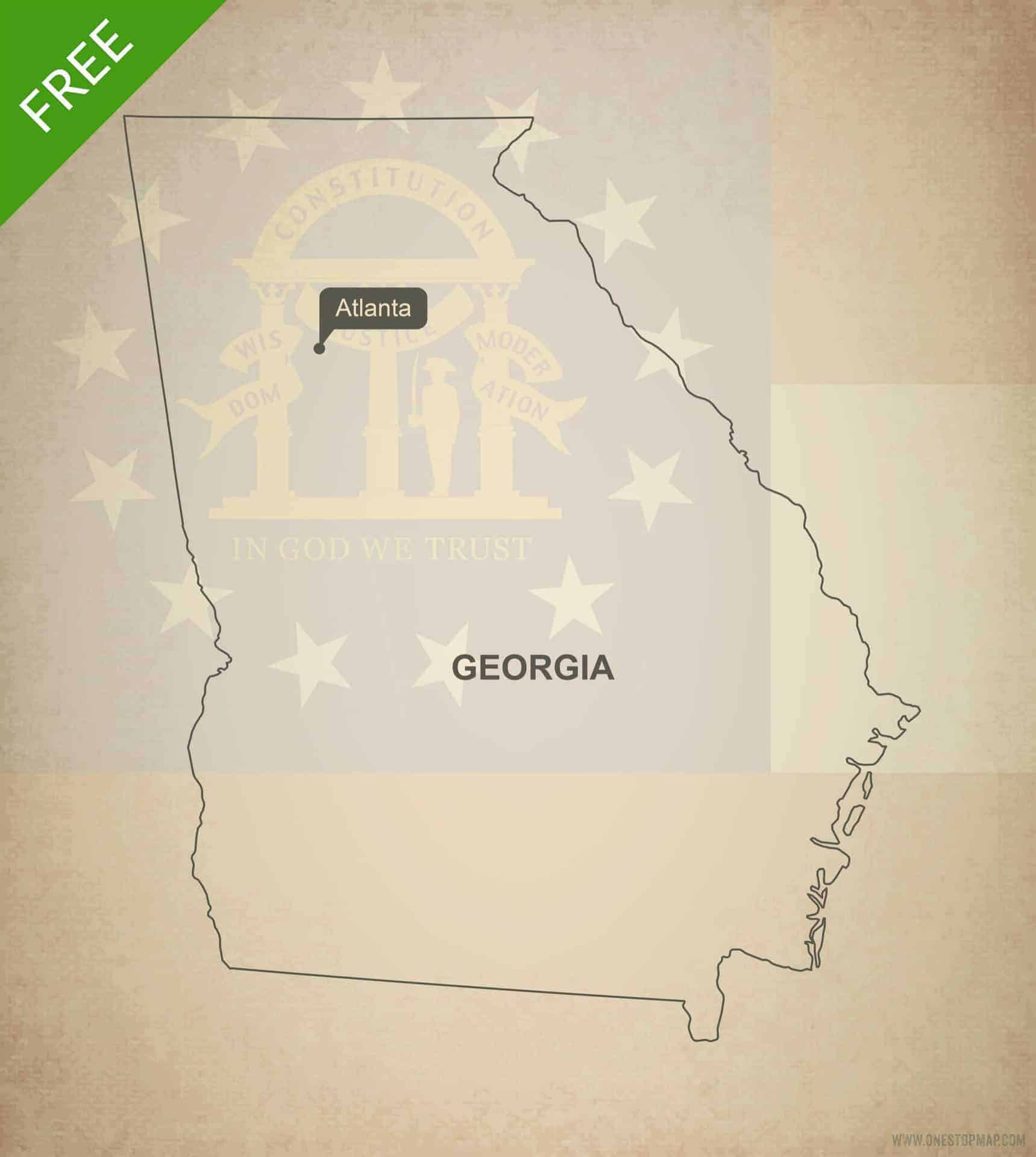 Outline Of Georgia Map.Free Vector Map Of Georgia Outline One Stop Map