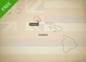 Free blank outline map of the U.S. state of Hawaii