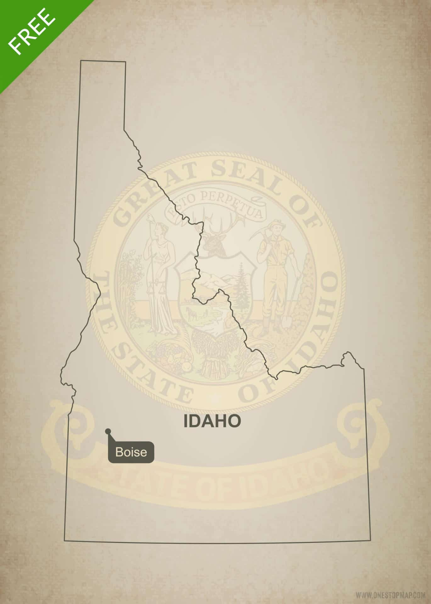 Free vector map of Idaho outline One Stop Map