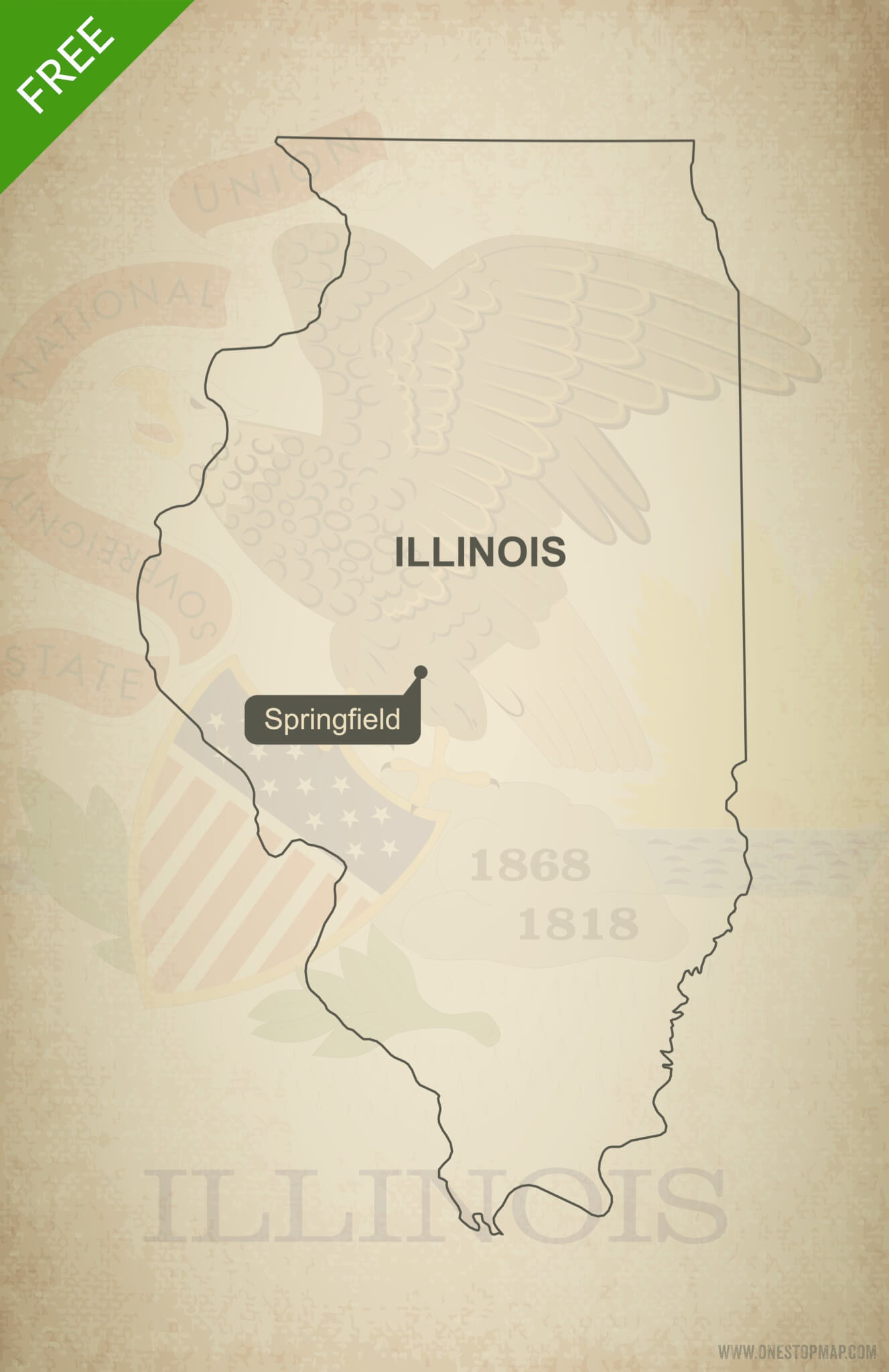 Free Vector Map Of Illinois Outline One Stop Map - Illinois on the us map