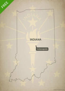 Free blank outline map of the U.S. state of Indiana