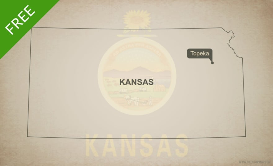 Free blank outline map of the U.S. state of Kansas
