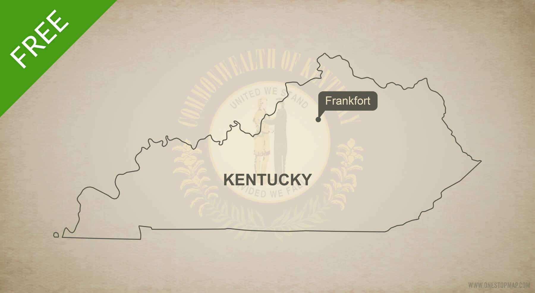 Free vector map of Kentucky outline | One Stop Map