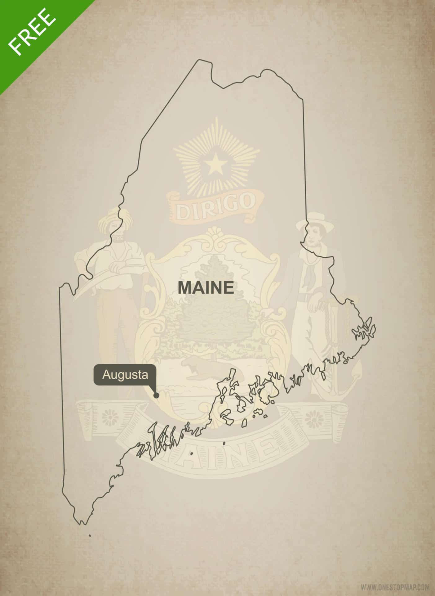 Free Vector Map Of Maine Outline One Stop Map - Main state map
