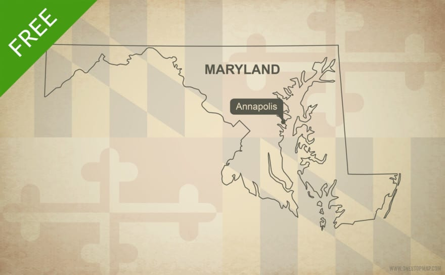 Free blank outline map of the U.S. state of Maryland