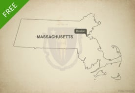 Free blank outline map of the U.S. state of Massachusetts