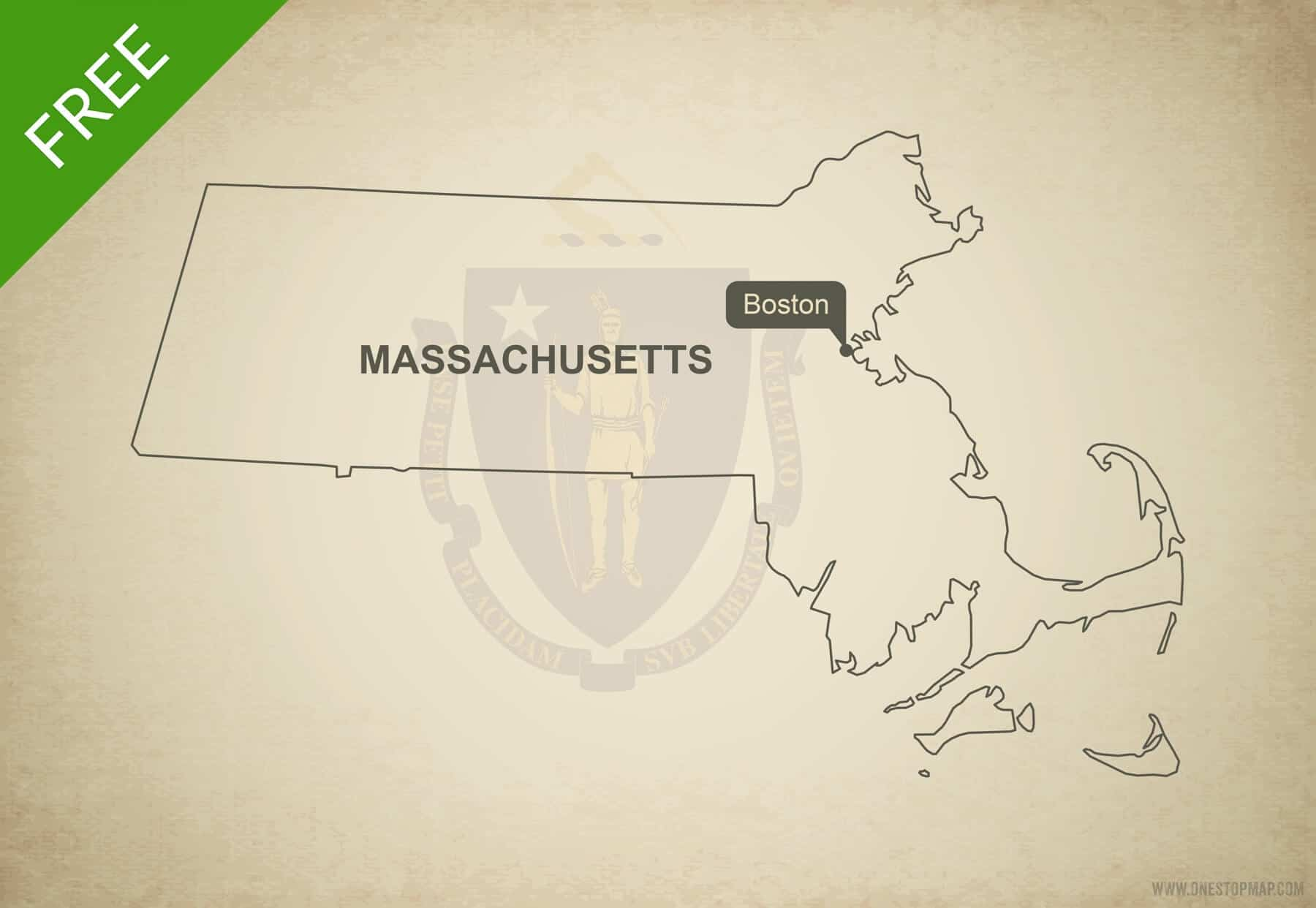 Free Vector Map Of Massachusetts Outline One Stop Map - Massachusetts-in-us-map