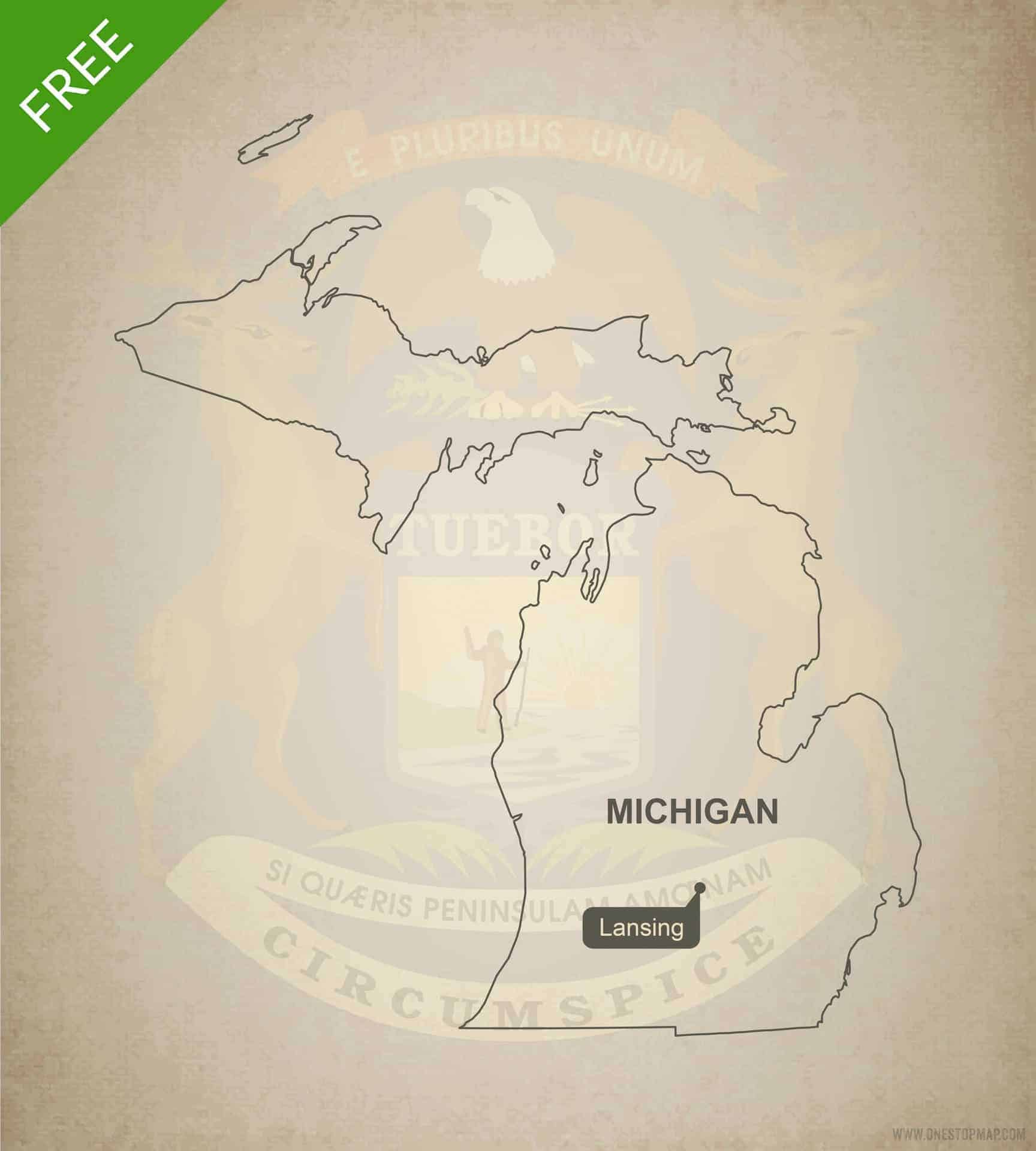 Us 12 Michigan Map.Free Vector Map Of Michigan Outline One Stop Map