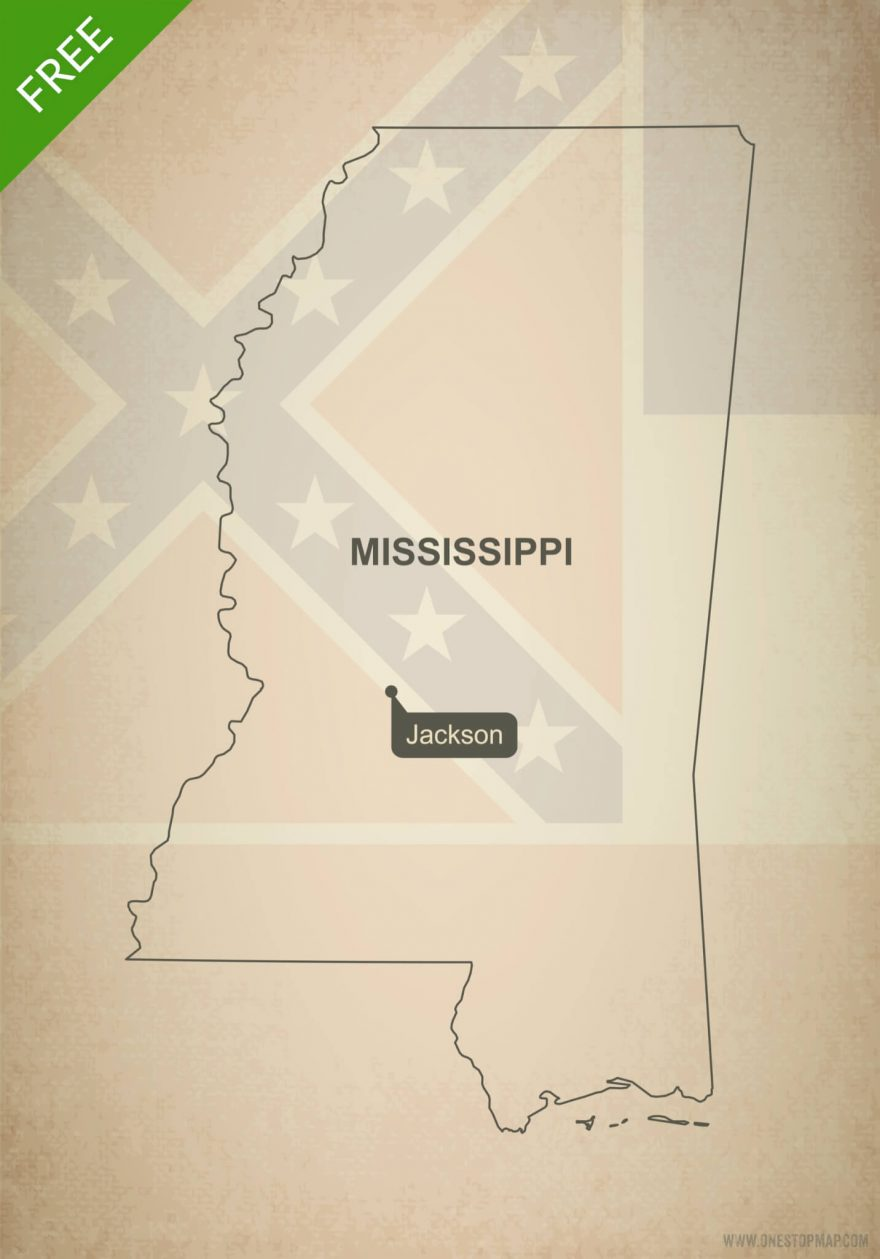 Free blank outline map of the U.S. state of Mississippi