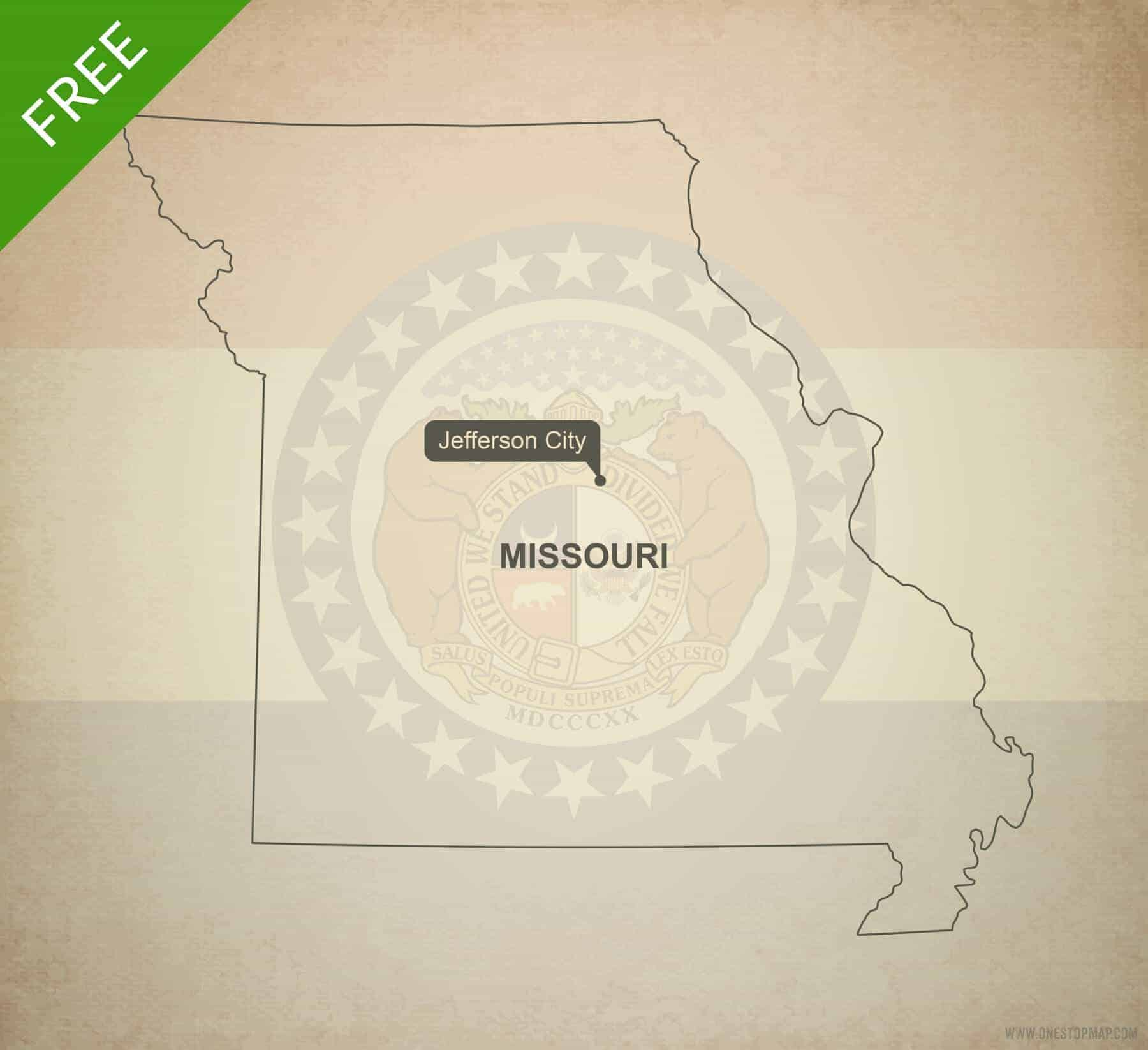 Free Vector Map Of Missouri Outline One Stop Map